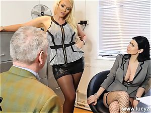 killer bosses turn office weirdo into sole worship slave