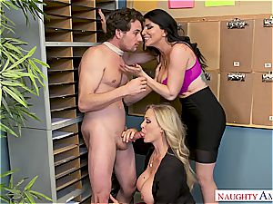 Julia Ann and Romi Rain are looking for someone to plaything their thick bombs