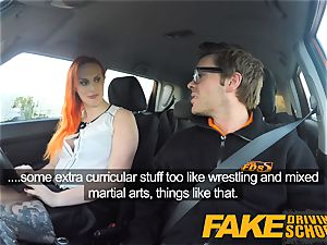 fake Driving school stunning sandy-haired lusts after hefty lollipop
