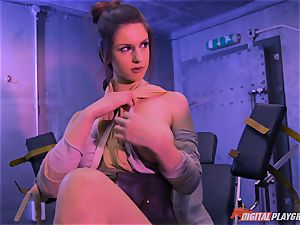 Stella Cox poon bashed by a space agent