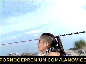 LA new-cummer French black-haired lady screwed at the beach