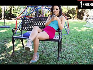 insatiable brown-haired teenager pounded on a playground