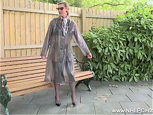 naughty cougar milks in public in nylons garters high-heeled slippers