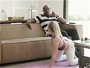 light-haired bi-atch in a sizzling interracial romping scene