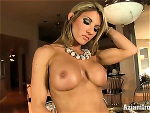 rigid bodied Abby showcases off her rocking assets