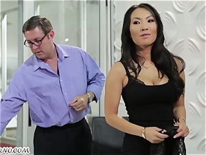 slutty asian assistant gets pounded in the office