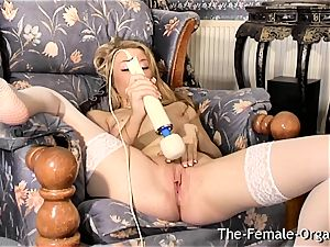 Femorg ash-blonde in stockings Bates raw snatch to ejaculation