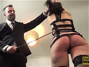beautiful brit scum ball-gagged and dommed by phat cock