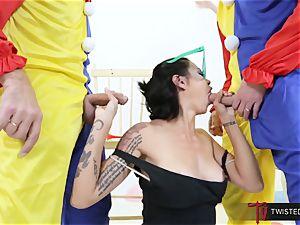 Dana Vespoli romped by creepy humungous fuckpole clowns