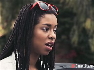 Outdoor multiracial slit enjoy with Kira Noir and Jessa Rhodes