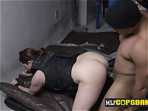 milf cops pull out suspects rigid spunk-pump and make him plumb their poons